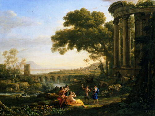 Claude Lorrain Nymph and Satyr Dancing Giclee Canvas Print Poster LARGE SIZE