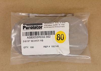"100 Purolator 2.56/"" Round 40 Mesh 381µ Stainless Steel Wire Cloth Filter Screens"