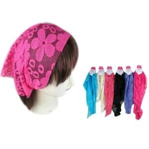 Details about 6 pieces Lace Flower Hair Net Bandana Jersey Workout Yoga  Head Wrap Band Hair