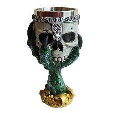 KNIGHT'S SKULL IN DRAGON'S CLAW Decorative Fantasy Gothic GOBLET Green