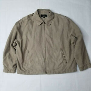 VINTAGE-Gary-Player-Poly-Suede-Jacket-Zip-Up-Tan-Nylon-Mens-Size-2XL