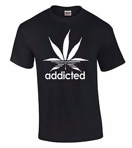 Hoodie T Cannabis Funny Addicted Details About Tee Shirt Marijuana Leaf White Weed Logo hCtsQdr