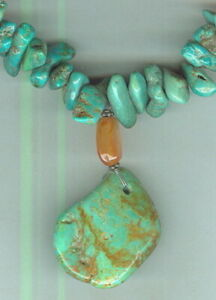 Puffed-Carnelian-Beads-and-Turquoise-Nuggets-in-Drop-Style-Necklace