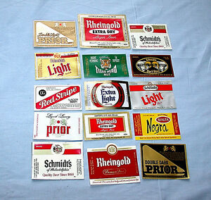 Collection-of-Fifteen-Very-Vintage-All-Different-BEER-Labels-MINT
