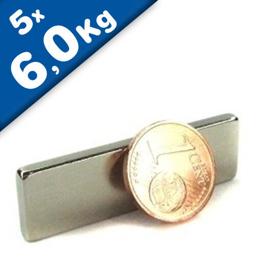 5 x Quadermagnet Magnet-Quader 40 x 3 x 12mm Neodym N42 NdFeB hält 6kg Nickel