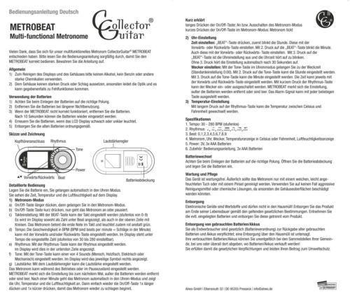 Multi-funktionales Metronom mit verschiedenen Sounds CollectorGuitar MetroBeat