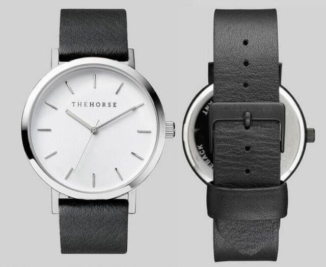 THE HORSE Fashion Brand Women Men'Casual Leather Strap Quartz Wrist Watch Black