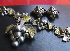 GRAPEVINE JEWELLERY SET. GOLD PLATED. STERLING SILVER. FLORAL. TAXCO. MEXICO