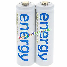 2x AAA 3A 2000mAh 1.2V Ni-Mh Energy Rechargeable Battery White Cell for RC MP3