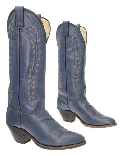 ABILENE Cowboy Boots 7.5 M Womens Leather Blue Kne