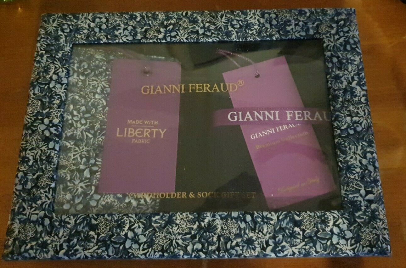 GIANNI FERAUD Liberty Floral Cardholder & Socks Gift Set RRP