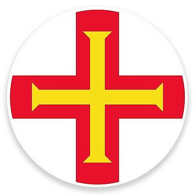2 X 10cm Guernsey Flag Map Vinyl Sticker Decal Laptop Luggage Travel Tag #9029