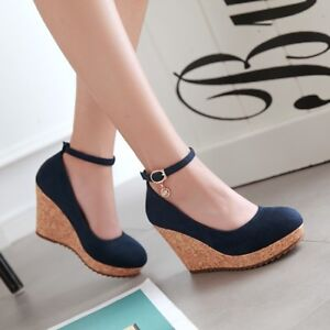 Womens-Ankle-Strap-Wedge-Platform-High-Heel-Sandals-Round-Toe-Pumps-Shoes-Size-8