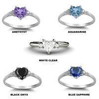 Multi Gemstone Heart & Cz Sweet Heart Engagement Promise Sterling Silver Ring