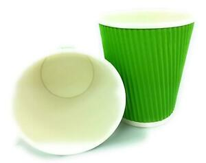 100-X-12Oz-Disposable-Green-Paper-Cups-Kraft-Cups-Disposable-Coffee-Tea-Cups-UK