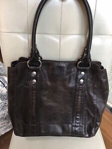 d283b5e4d Frye Slate Brown Leather Melissa Tote APU Shoulder Bag Purse DB138 ...
