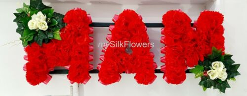 MAM Artificial Silk Funeral Tribute Any 3 Letter Name Flower Wreath NAN MUM WIFE