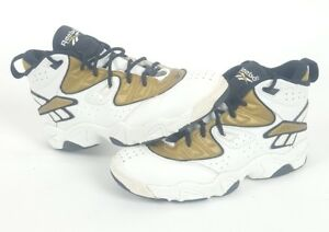 cb1d52664db616 Vintage 80s 90 Reebok Hexalite Basketball White Black Gold Shoes Men ...