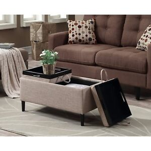 Image Is Loading Storage Ottoman Coffee Table Beige Upholstery Reversible Tray