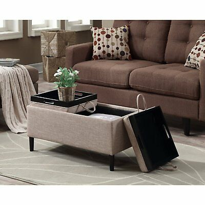 Storage Ottoman Coffee Table Beige Upholstery Reversible Tray Top Living Room Ebay