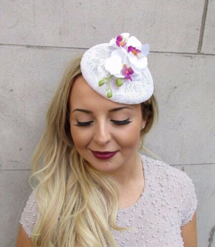 White Lace Orchid Flower Fascinator Hat Wedding Hair Clip Races Rockabilly 3008