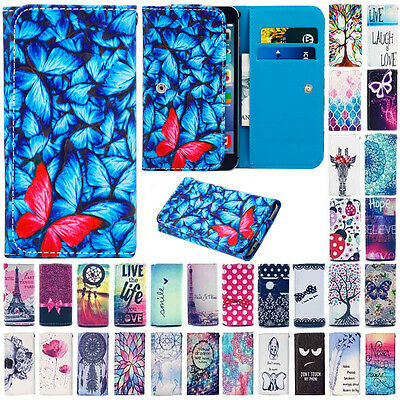 For Alcatel One Touch Smart Phone PU Leather Wallet Card Pouch Bag Case Cover