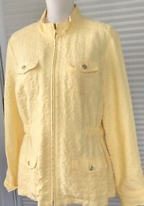 Christopher-Banks-Womens-Large-Yellow-Jacket-Zip-Front-Unlined-Embossed-Pockets