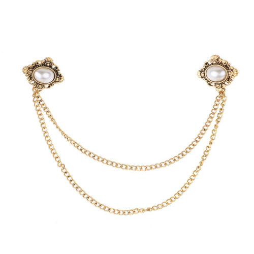 Women Retro Crystal Cardigan Clip Shawl Brooch Sweater Blouse Collar Clasp Pin