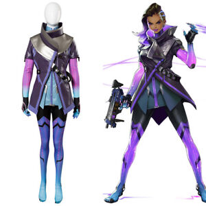 Overwatch-Sombra-Hacker-Cosplay-Costume-Purple-Jacket-Dress-Jumpsuit-Outfit