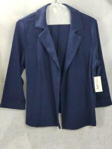 Maison-Jules-Womens-Jacket-XL-Navy-Blue-Open-Front-3-4-Sleeve-Knit-Blazer