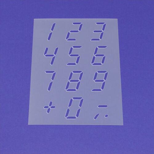 Schablone Wandschablone LCD Zahlen Satz 0-9 Null bis Neun ME29