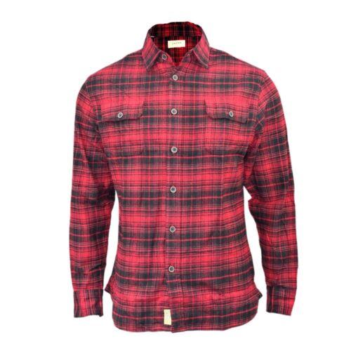 Camicia da uomo spazzolato Check Camicia Manica Lunga Spessa Cotone Casual Top S-XL