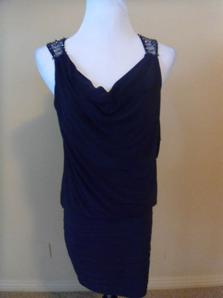 NWT Xscape Dress, Navy bluee with embellishments, Size 6