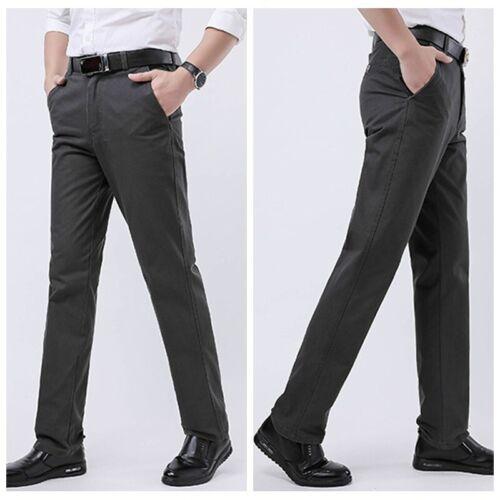 Mens Trousers Formal Dress Pants Cotton Blend Business Suit Straight Legs Black