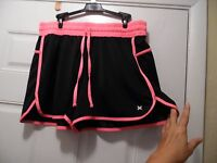 Xersion Plus Size 1x Black Hot Pink Trim Polyester Running Style Shorts Tie