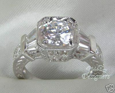 2.1ct Brilliant//Baguette Engagement//Wedding Ring Sz 9