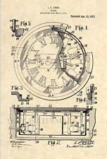 Official 1915 Clock US Patent Art Print -Vintage Steampunk Time Watch Deco 431