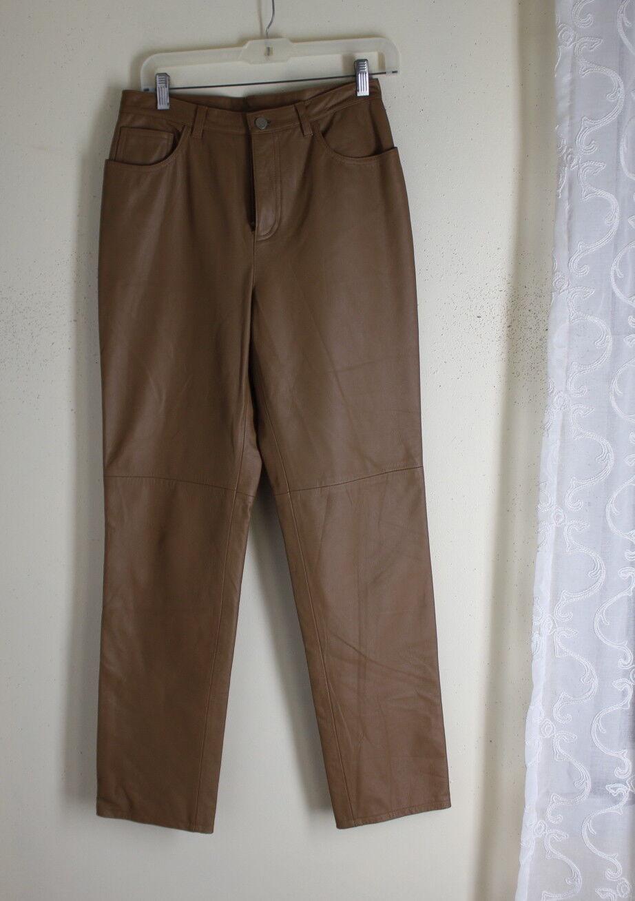 Ralph Lauren -Sz 6 Rich Tan Classic 100% Leather Gorgeous Pants -Mint Condition