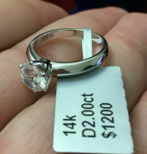 Solid 14k Gold Ring Engagement Ring 2.25 Ct Round Cut Brilliant Solitaire Accents Solid 14K White Gold Engagement Band