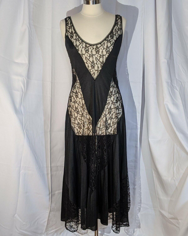 Vtg 80s Fredericks of Hollywood Black Nylon Lace Chevron Maxi Nightgown M 6 8