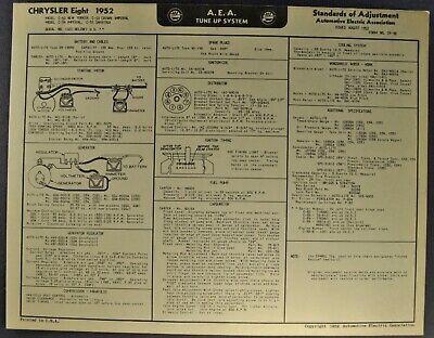 1952 Chrysler 8 Tune Up Chart Wiring Diagram Hemi New ...