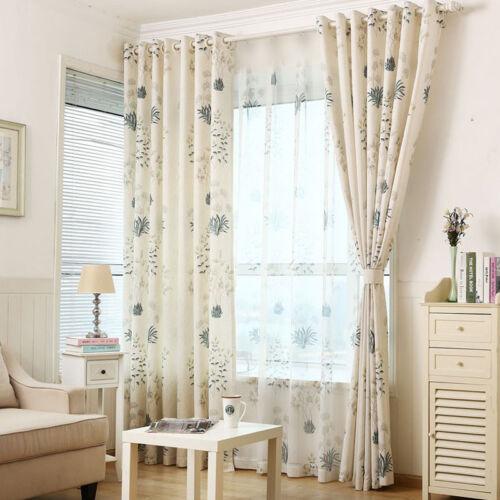 1 Piece Cotton Linen Curtain Set Shade Cloth /& Sheer Tulle Pastoral Modern Drape