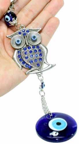 Turkish Blue Evil Eye Crystal Owl Wall Hanging Protection Amulet Home Decor Gift