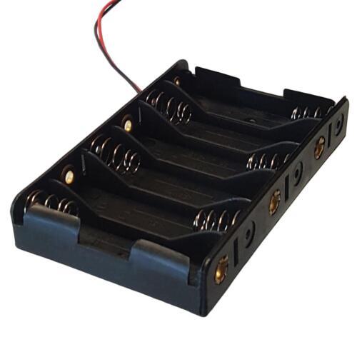 Titular de la batería AA x 6 Negro con ~ 14cm conduce