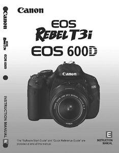 canon rebel t3i eos 600d digital camera user instruction guide rh ebay com canon 60d manual canon 500d manual