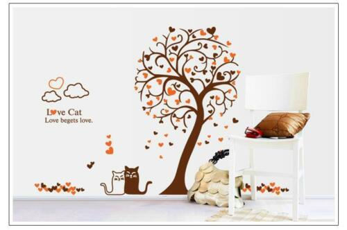 Mural Sticker Murale Arbre automne chats Feuilles 90 x 115 w113