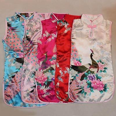 Kids Girls Cute Dress Floral Peacock Cheongsam Chinese Qipao Baby Dress Clothing