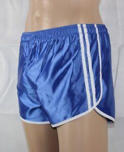 Franzoesische-Sprinter-Sporthose-Glanz-Nylon-Boxer-Shorts-blau-Gr-S-D4-NEU