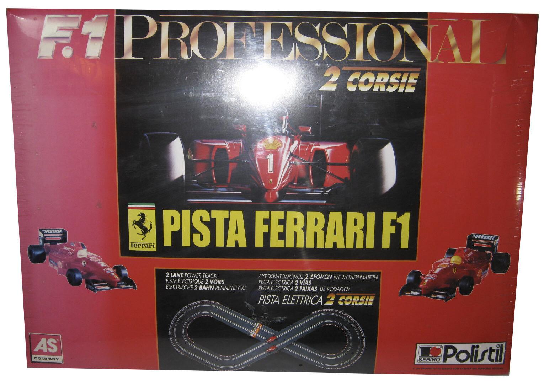 Vintage Polistil enorme pista Ferrari F1 eléctrica Las pistas de Cochereras de ranura 1 32 Menta en Caja Sellada