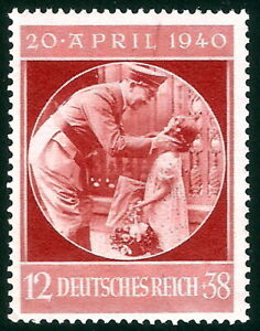 DR-Nazi-3rd-Reich-Rare-WW2-Stamp-Hitler-Uniform-with-Litlle-Girl-Fuhrer-Birthday